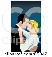Royalty Free RF Clipart Illustration Of A Romantic Couple Embracing And Closing In On A Kiss by David Rey
