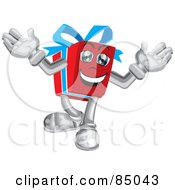 Happy Blue And Red Present Guy