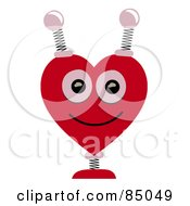 Royalty Free RF Clipart Illustration Of A Springy Heart Shaped Robotic Head by mheld