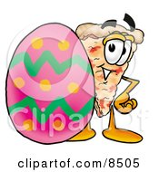 Slice Of Pizza Mascot Cartoon Character Standing Beside An Easter Egg