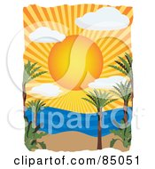 Royalty Free RF Clipart Illustration Of A Sun Shining Over A Tropical Beach And Ocean