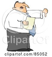 Royalty Free RF Clipart Illustration Of A Disappointed Male Boss Holding A Piece Of Paper And Holding His Thumb Down