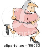 Royalty Free RF Clipart Illustration Of A Granny Running In A Pink Dress