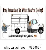 Royalty Free RF Clipart Illustration Of A Distracted Worker Man Text Messaging On His Cell Phone While Directing A Utility Truck To Back Up