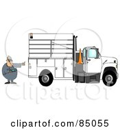 Royalty Free RF Clipart Illustration Of A Distracted Man Texting On His Cell Phone While Directing A Utility Truck To Back Up