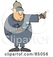 Royalty Free RF Clipart Illustration Of A Distracted Texting Worker Man Using His Finger To Direct A Driver While Backing Up