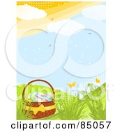Royalty Free RF Clipart Illustration Of An Easter Basket With Eggs On A Green Spring Hill With Butterflies Birds And Plants With Halftone Dots by elaineitalia