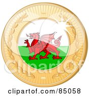 Royalty Free RF Clipart Illustration Of A 3d Golden Shiny Welsh Medal by elaineitalia