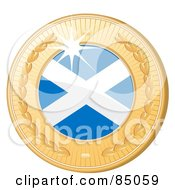 Royalty Free RF Clipart Illustration Of A 3d Golden Shiny Scotland Medal by elaineitalia