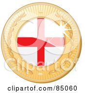 Royalty Free RF Clipart Illustration Of A 3d Golden Shiny England Medal by elaineitalia