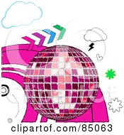 Royalty Free RF Clipart Illustration Of A Sketched Pink Disco Ball With Colorful Arrows Hearts And Clouds by elaineitalia