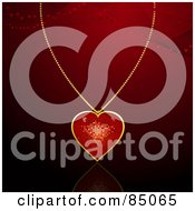 Royalty Free RF Clipart Illustration Of A Gold And Red Heart Pendant On A Golden Chain Over Red With Mesh Waves And Hearts