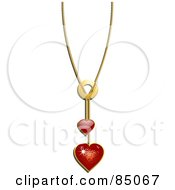 Royalty Free RF Clipart Illustration Of A Chain With Red Heart Pendants