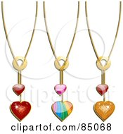 Set Of 3 Valentine Heart Necklaces Digital Collage Of Red Rainbow And Golden Heart Pendants On Chains