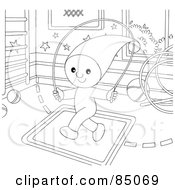 Royalty Free RF Clipart Illustration Of An Outlined Little Elf Jumping Rope In A Play Room