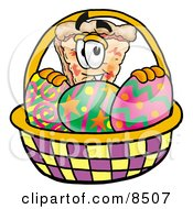 Slice Of Pizza Mascot Cartoon Character In An Easter Basket Full Of Decorated Easter Eggs