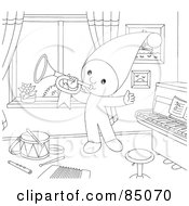Royalty Free RF Clipart Illustration Of An Outlined Little Elf Playing A Horn In A Music Room by Alex Bannykh
