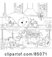 Royalty Free RF Clipart Illustration Of An Outlined Little Elf Using A Mixer While Baking In A Kitchen by Alex Bannykh
