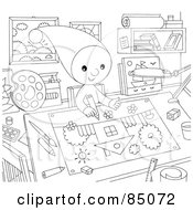 Royalty Free RF Clipart Illustration Of An Outlined Little Elf Drawing In An Art Room by Alex Bannykh