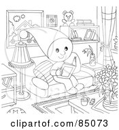 Royalty Free RF Clipart Illustration Of An Outlined Little Elf Reading A Book In A Living Room