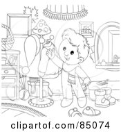 Royalty Free RF Clipart Illustration Of An Outlined Little Boy Reaching For A Coat On A Rack