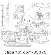 Royalty Free RF Clipart Illustration Of An Outlined Little Elf Reading Making Stew In A Kitchen