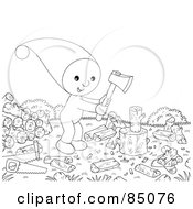 Royalty Free RF Clipart Illustration Of An Outlined Little Elf Chopping Wood Outdoors