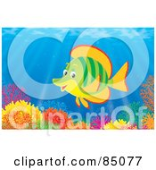 Royalty Free RF Clipart Illustration Of A Green And Orange Marine Fish At A Colorful Coral Reef