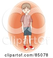 Little Brunette Boy Standing Over An Orange Oval