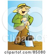 Happy Farmer Singing And Using A Spade In A Garden
