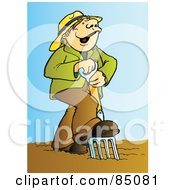 Royalty Free RF Clipart Illustration Of A Happy Farmer Singing And Using A Pitchfork In A Garden