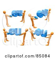 Royalty Free RF Clipart Illustration Of A Digital Collage Of 3d Orange People Carrying Dot Eu Domain Extensions On A White Background