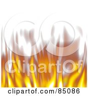 Royalty Free RF Clipart Illustration Of A Lower Border Of Blurry Flickering Flames On White