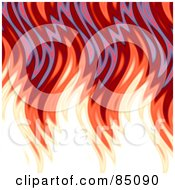Royalty Free RF Clipart Illustration Of Jaggedy Red Wavy Flames On White by Arena Creative