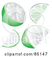 Royalty Free RF Clipart Illustration Of A Digital Collage Of Lime Slices Halves And Wedges by Arena Creative