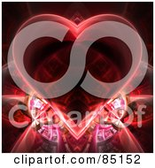 Royalty Free RF Clipart Illustration Of A Red Heart Fractal Over Black by Arena Creative