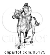 Royalty Free RF Clipart Illustration Of A Black And White Sketched Jockey On A Race Horse