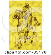 Royalty Free RF Clipart Illustration Of A Yellow Sketched Jockey On A Race Horse