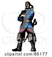 Royalty Free RF Clipart Illustration Of A Tough Male Pirate Standing With His Arms Crossed A Sword Behind Him