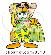 Slice Of Pizza Mascot Cartoon Character In Green And Yellow Snorkel Gear