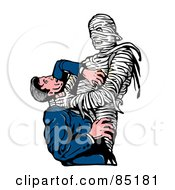 Royalty Free RF Clipart Illustration Of A Man Fighting Against A Mummy That Is Strangling His Neck