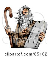 Royalty Free RF Clipart Illustration Of Moses Carrying A Cane And The Ten Commandments On A Tablet by patrimonio