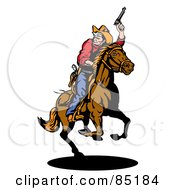 Royalty Free RF Clipart Illustration Of A Cowboy Holding Up His Pistil And Looking Back While On Horseback