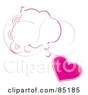 Royalty Free RF Clipart Picture Of A Shiny Pink Heart With A Blank Word Balloon by MilsiArt