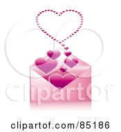 Pink Envelope With Hearts Floating Out Of It