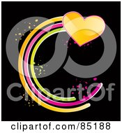 Royalty Free RF Clipart Picture Of A Shiny Yellow Heart With A Circular Green Pink And Orange Trail by MilsiArt
