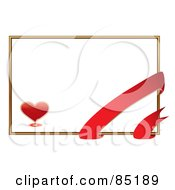Blank White Valentines Day Card With A Gold Border Red Ribbon And Heart