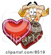 Slice Of Pizza Mascot Cartoon Character With An Open Box Of Valentines Day Chocolate Candies