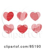 Royalty Free RF Clipart Picture Of A Digital Collage Of Six Doodled Red Hearts by MilsiArt