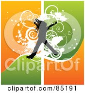 Royalty Free RF Clipart Picture Of A Girl Silhouette Jumping Over A Grungy Orange And Green Background